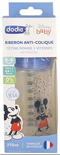 Dodie Disney Baby - Biberón anticólico, tetina redonda de 3 velocidades, 270 ml, 0-6 meses – Mickey