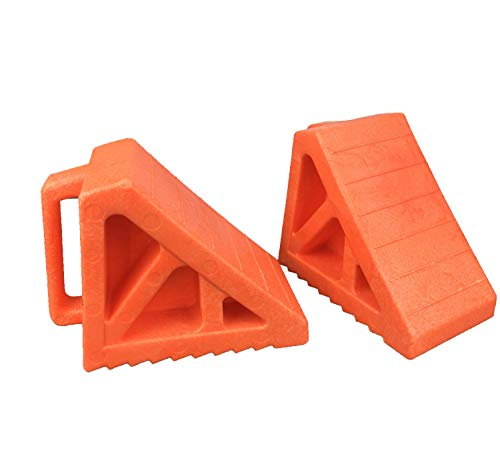 Camper Leveling Blocks Wheel Tire Plastic Chocks, Premium Heavy Duty Vehicle Wedge Design Chocks for Travel Trailers, RV, Truck, Car and ATV 2 Pack Orange