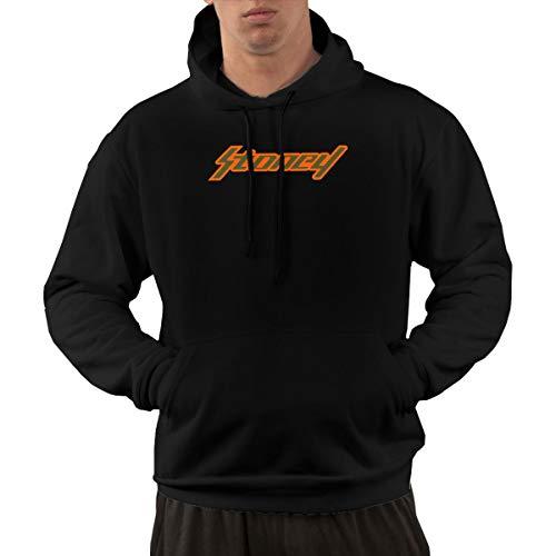 Zhao JinZhu Stoney Orange Logo Men's Casual Long Sleeve Sport Hoodie Autumn Winter Pullover Sweatshirt (Black1, L)