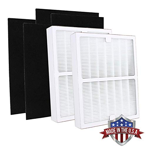 Idylis Replacement Filter A for Idylis AC-2119, Part# IAF-H-100A, IAFH100A, Includes 2 HEPA Filters & 4 Carbon Filters Compatible with Idylis Air Purifier AC-2119, IAPC-10-140 (Made in USA) (2 Pack)