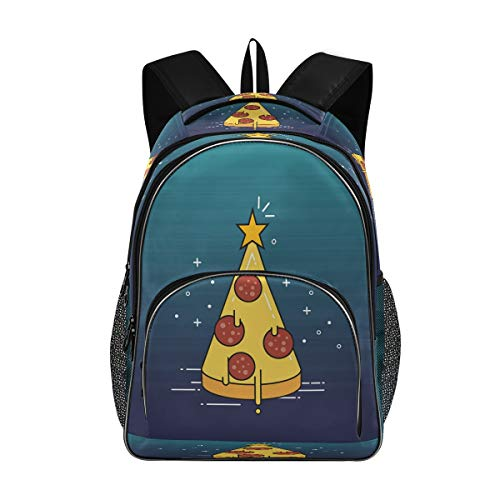 Kids Backpack Christmas Pizza Tree Cute Funny Boys Girls School Backpack Bag Bookbag Large