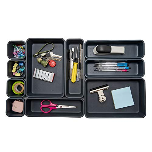 Backerysupply Interlocking Desk Drawer Organizer Separators for Office,Bathroom, Kitchen, Makeup (Set of 10)