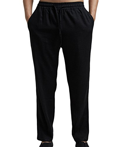 Insun Homme Pantalon de Loisir en Lin Confortable Respirant Taille Elastique Cordon de Serrage Noir 36