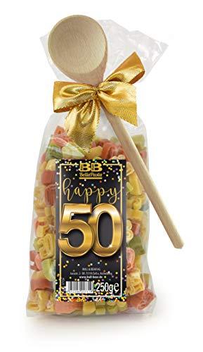 Pasta Präsent Happy 50 mit bunten Zahl-Nudeln handgefertigt in deutscher Manufaktur