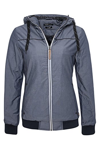 Eight2Nine Basic Damen Winterjacke mit Kapuze   Sportliche Jacke im Melange Look Dark-Blue L