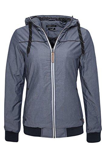 Eight2Nine Basic Damen Winterjacke mit Kapuze | Sportliche Jacke im Melange Look Dark-Blue M