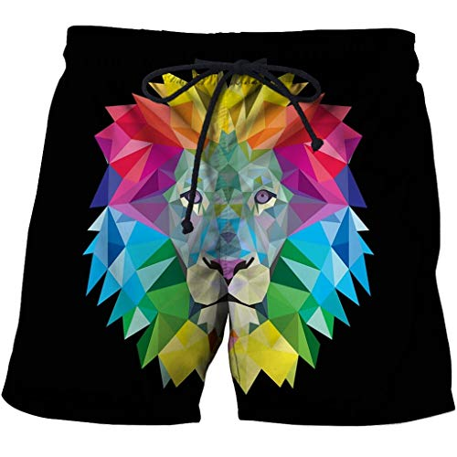 Men's Swim Trunks 3D Casual Fashion Mens Quick Dry Swim Trunks with Pockets 3D Creative Printed Color Lion Doodle Summer Comfy Personality Beach Board Shorts Drawstring Quick Dry Beach Shorts