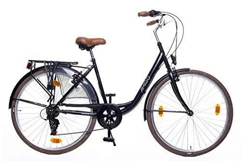 Amigo Style - Cityräder für Damen - Damenfahrrad 28 Zoll - Geeignet ab 170-175 cm - Shimano 6 Gang-Schaltung - Citybike mit Handbremse, Beleuchtung und fahrradständer - Schwarz