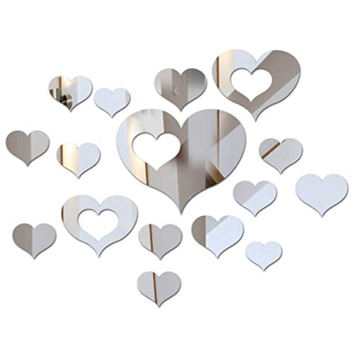 Top-spring 16 PCS Heart-Shaped 3D Mirror Tile Wall Sticker Acrylic Mirror Wall Sticker Decor Stick On Modern Decal for Home Living Room Bedroom Silver