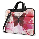 Butterfly Print Laptop Sleeve Case Computer Bag, Stylish Shockproof Water-Resistant Carrying Briefcase with Shoulder Strap, Size 13 Inch 14 Inch 15.6 Inch