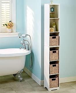 Slim Storage Towers Baskets MDF Seagrass Steel Bathrooms, Kitchens & Dorm Rooms (White Storage Tower)