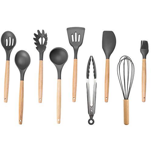 Juego de utensilios de cocina de silicona con mango de madera, utensilios de cocina multifunción, cuchara de cocina antiadherente, 9 unidades