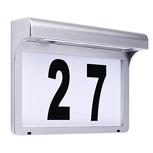 LeiDrail Solar Illuminated House Number Plaques Address Signs Light Name Plaque LED Door House Numbers Outdoor Lighting Waterproof Silver