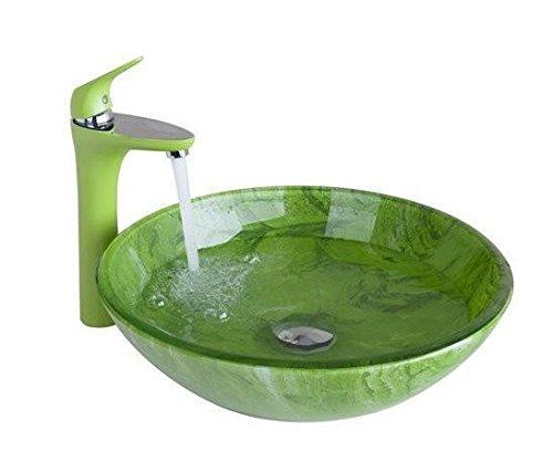 Gowe Vert de salle de bain Lavabo Lavabo en verre peint à la main + Lavabo Laiton Toilettes robinet de bain Bouquet Ensemble de robinet, robinet mitigeur