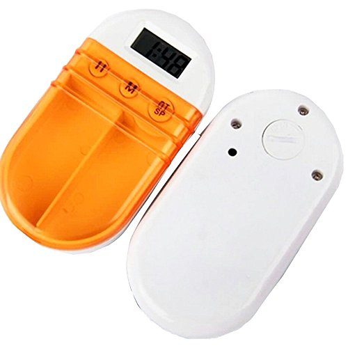 XIHAA Portable Grid Intelligent Electronic Timing Pill Case Alarm Timer Pills Digital Reminder Storage Box Best Gift For Women Health Care,Orange