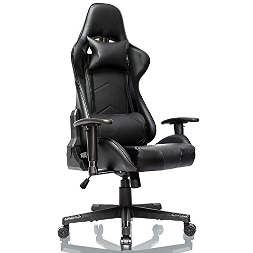 Gtracing Chair Gaming, Racing Gaming Chair - Silla giratoria de Cuero para Juegos de computadora de Oficina, Respaldo ergonómico y Asiento con reposacabezas y Almohada Lumbar (Negro)