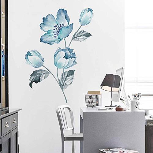 Esmee Flor de peonía Pegatinas de Pared Vinilo Decorativo con para salón, Oficina, baño, Cocina, Dormitorio, decoración del hogar (Azul-1)