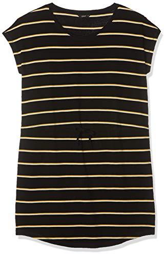 ONLY Damen Onlmay S/S Dress Noos Kleid, Mehrfarbig (Black Double Yolk Yellow/Cl. Dancer), 44 (Herstellergröße: XX-Large)