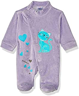 Papillon Velvet Embroidered Cat Long-Sleeve Snap-Closure Jumpsuits for Girls