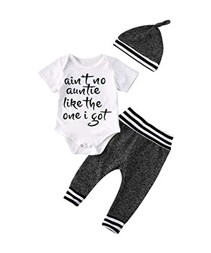 Aint No Auntie Like The One I Got Newborn Baby Boy Clothes Aunties Sayings Bodysuits Camouflage Pants+Hats Romper Set (Z-Gray, 6-12 Months)