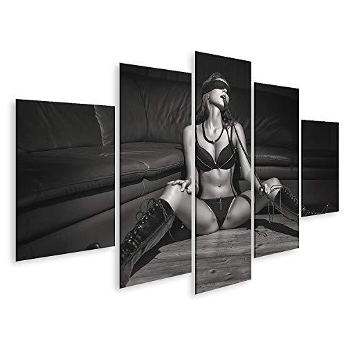 islandburner Cuadro en Lienzo Lujuriosa y Sexy dominatriz con látigo sentada en el Suelo en Ropa Interior de Encaje con Botas de látex. Cuadros Modernos Decoracion Impresión Salon