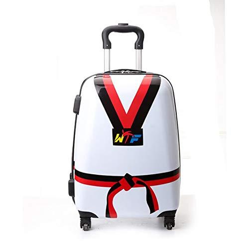 Qp-lgx La Maleta Trolley para niños de 18 Pulgadas de Taekwondo se Puede Personalizar para Imprimir (Color : Blanco, Tamaño : 18in)