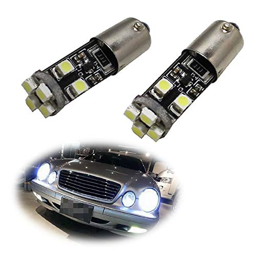iJDMTOY 8-SMD Error Free BA9 64132 H6W LED Bulbs Compatible With European Cars Parking Lights, Xenon White