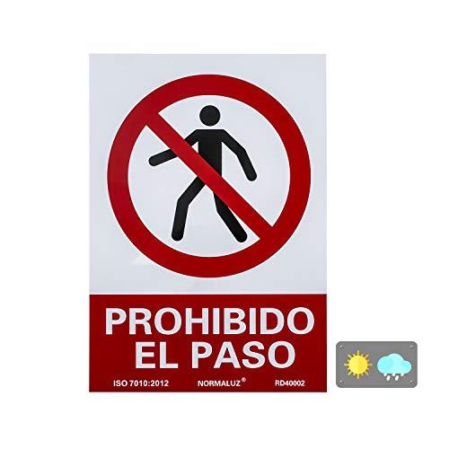 Normaluz RD40002 Señal Prohibido El Paso PVC Glasspack 0,7mm 21x30 cm, Rojo