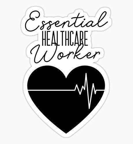 Pack of 4-3' Stickers -Decals Essential Healthcare Worker - Quarantine Sticker