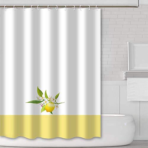 JOOCAR Design Duschvorhang, Weiß Sommer Hauptset Gelb Zitrone Früchte Wasserdicht Stoff Stoff Badezimmer Dekor Set mit Haken