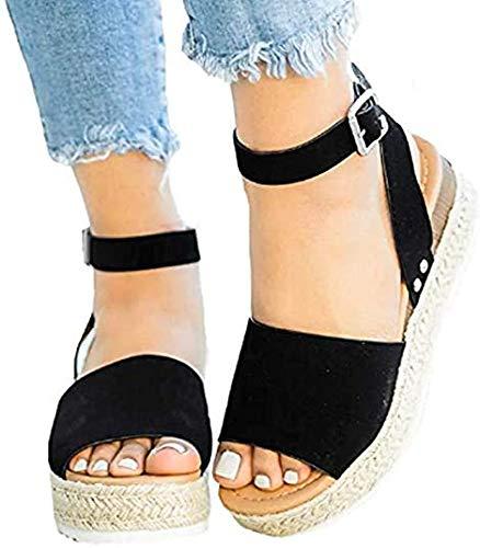 Sandalen Dames Plateau Sleehak Open teen Espadrilles Dames Enkel Gesp Strappy Sandaal Hak 5.5cm,Black,43
