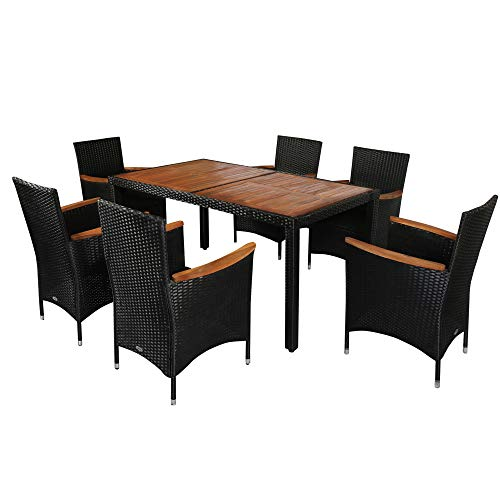 Outsunny 7 PCS Outdoor Patio Dining Sets, Garden PE Rattan Wicker Furniture w/Acacia Wood Table Top, Stackable Armrest Chairs w/Water-Proof Cushions