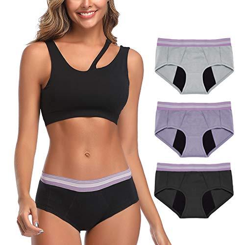Neione Women Period Panties Underwear Leak Proof Menstrual Pants 3 Pack Black Gray Purple XXL Plus...