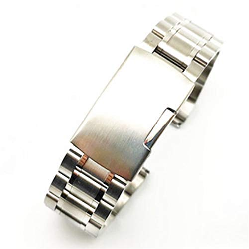HNGM Watch strap Stainless Steel Strap 12mm 14mm 16mm 18mm 20mm 22mm 24mm Folding Clasp Men's Sports Replacement Bracelet Curved End (Band Color : Silver, Size : 16mm)