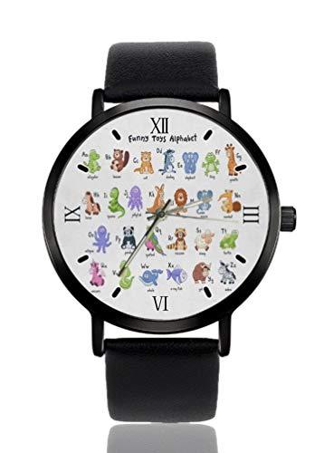 Alfabeto Animales Divertidos Reloj de pulsera de mujer Ultra Delgada Caso Extremadamente Simple Analógica Pulsera de Mujer Ultra Delgado Reloj de Pulsera