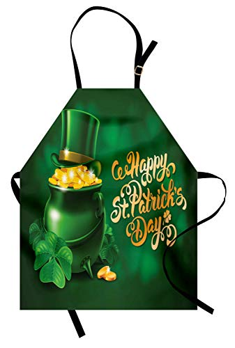 Ambesonne St. Patrick's Day Apron, Large Pot of Gold Leprechaun Hat Shamrocks Greetings 17th March, Unisex Kitchen Bib with Adjustable Neck for Cooking Gardening, Adult Size, Gold Emerald