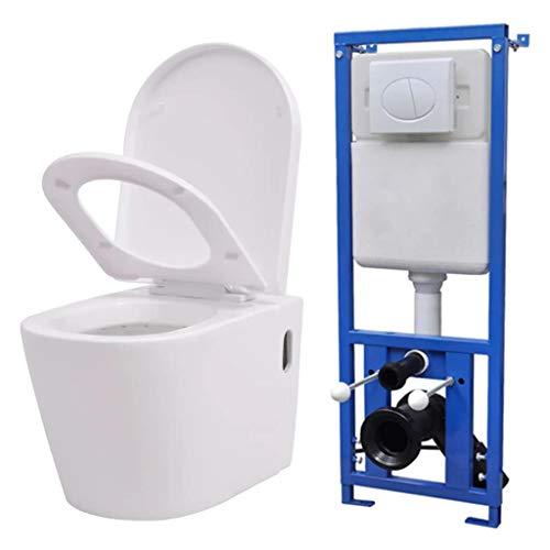 vidaXL Inodoro Colgante Pared Cisterna Oculta Cerámica Blanco Retrete Váter WC