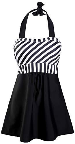 PANOZON Vestido de Traje de Baño Talla Grande para Mujer Bañador Atado al Cuello Tankinis de Natación (M, 1Raya Negra)