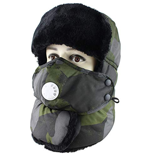 HUYUEXIN Russian Hat,Russian Trapper Hat Green Camouflage Lei Feng Cap Ushanka Military Hunting Aviator Bomber Hat Winter with Mask Ear Flaps Thicken Warm Waterproof Windproof Ski Hat