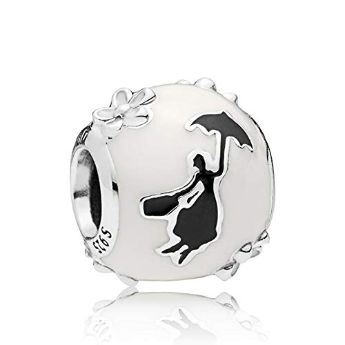 LaMenars Disney Charm 925 Silver Beads for Bracelets and Bangles, Charm for Women and Girls Disney Mary Poppins Silhouette