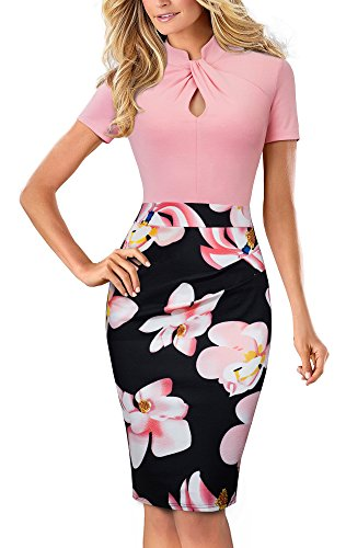 HOMEYEE Women's Short Sleeve Business Church Dress B430 (4, Light Pink)