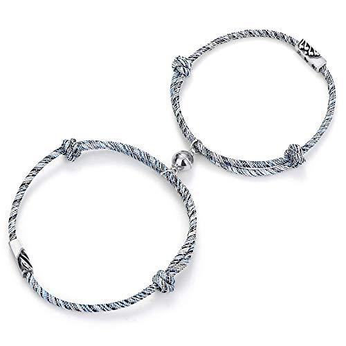 Milacolato Paar Magnet Armband Set Gegenseitige Anziehung Seil Geflochtene Charm Anhänger Armband Paar Geschenk Schmuck Set für Frauen Männer