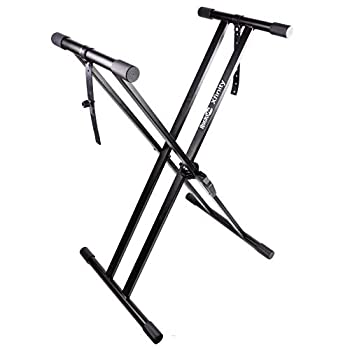 RockJam Xfinity Heavy-Duty Double-X Pre-Assembled Infinitely Adjustable Piano Keyboard Stand with Locking Straps