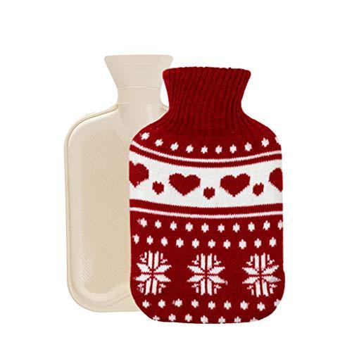 LoveLeiter Wärmflasche mit Bezug, Wärmflaschen 350 ML mit Strickbezug Rollkragen Wärmekissen, Sicher und langlebig Geprüft Und Frei Von Schadstoffen