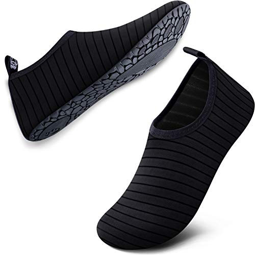SIMARI Water Shoes for Women Men Anti Slip Summer Outdoor Beach Swim Surf Pool SWS002 193-2 Stripe Black