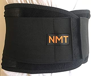 Back Brace by NMT ~ Lumbar Support Black Belt ~ Posture Corrector ~ Arthritis, Pain Relief, Sciatica, Scoliosis ~ Physical Therapy for Women-Men ~ 4 Adjustable Sizes-'L' Fits Waist 34-40
