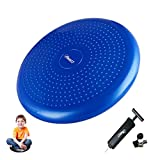 Wobble Cushion by Freesty, Wiggle Seat with Pump, Air Stability Disc Core Trainer for Home & Gym, Office Desk Chair Cushion for Flexible Classroom Seat, Sensory Kids Cushion Seat for Fidg (Blue, 34cm)