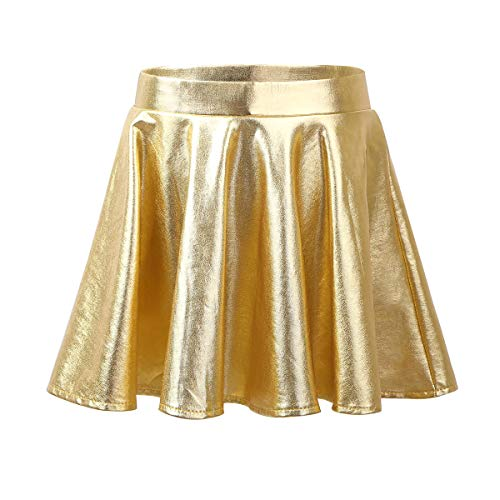 Aislor Mädchen Röcke Skaterrock mit Shorts Glänzender Minirock Kinder Tanzbekleidung Hip Hop Tanzrock High Waist Faltenrock Gr. 110-164 Gold 134-140