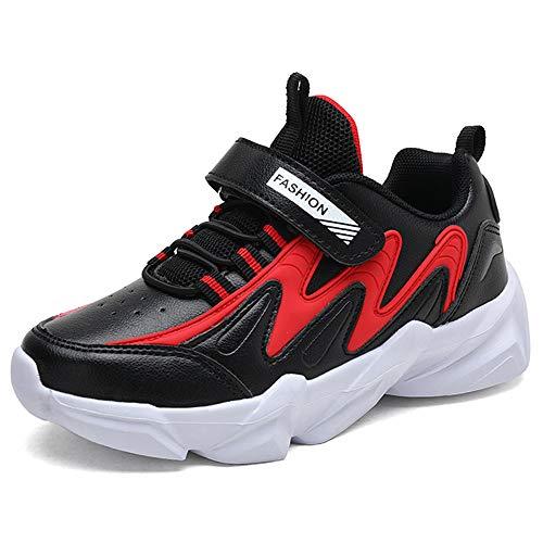 HSNA Zapatillas Niños Velcro Zapatos de Gimnasia para Caminar Ligero Trainers Kids(Negro y Rojo 35 EU)