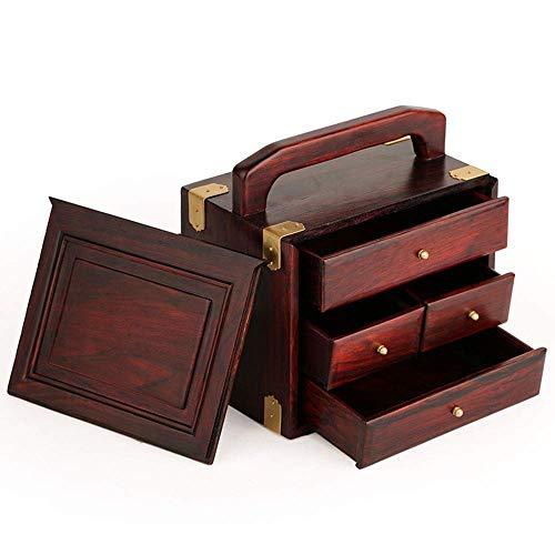 ALIANG Caja de Almacenamiento Decorativa de Tres Capas de Madera de sándalo Retro Chino